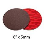 "SurfPrep 6""x10mm Red Foam Abrasives Disc, 36 Coarse, Aluminum Oxide, No Hole, Hook/Loop"
