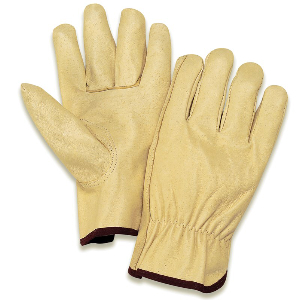 Northern Safety 10897 Gloves, Pigskin Grain Leather, Drivers Style, Large