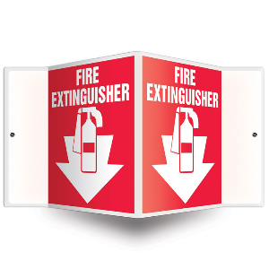 Northern Safety 15019 Fire Extinguisher Sign, Projection