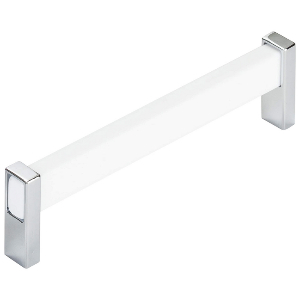 "6-5/8"" White with Polished Chrome Pull, Prism, Berenson 1192-7000-P"