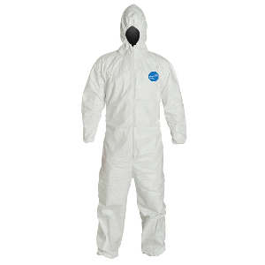 White DuPont™ Tyvek® Coveralls, Elastic Wrists and Ankles, Collar Coveralls, Extra Large, Northern Safety 24164-XL