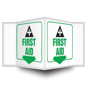 First Aid Sign, Green and Black on White, 1 Each, Northern Safety 15027