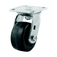 DH Casters C-MHD5MRS, Plate Mount Swivel & Rigid Caster Without Brake, HD, Swivel, Moldon Rubber, 5in, 400lb Capacity