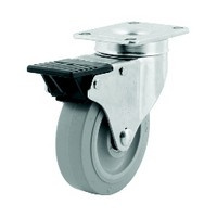 DH Casters C-ML4P1RS, Caster With Supreme Locking Brake, Medium Duty, 4in, 265lb Capacity, Plate Size 2-3/8 x 3-5/8
