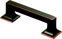 Hickory Hardware P3010-OBH Footed Handle, Centers 3in, Oil Rubbed Bronze Highlighted, Studio Series