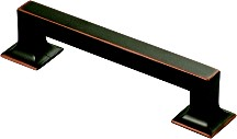 Hickory Hardware P3012-OBH Footed Handle, Centers 128mm, Oil Rubbed Bronze Highlighted, Studio Series