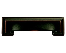 Hickory Hardware P3013-OBH Cup/ Bin Handle, Centers 3-3/4 (96mm), Oil Rubbed Bronze Highlighted, Studio Series
