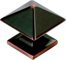 Hickory Hardware P3015-OBH Square Knob, dia. 1-1/4, Oil Rubbed Bronze Highlighted, Studio Series