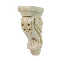 Grand River CB702, Machine Carved Wood Corbel, Acanthus Scroll Collection, 3 W x 6-1/8 D x 9-1/2 H, Linden