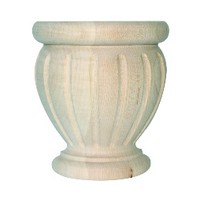 Grand River BFPOPF-M, Machined Wood Bun Foot, Poppy Fluted Style, 4 W x 4-1/2 H, Maple
