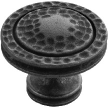 Hickory Hardware P3061-BI Round Design Knob, dia. 1-3/8, Black Iron, Mountain Lodge