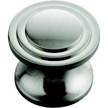 Hickory Hardware P3102-SN Round Design Knob, dia. 1in, Satin Nickel, Deco