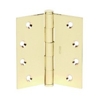 Stanley Security 30834 Bulk-3, Steel Low Frequency Five Knuckle Hinges, 4 W x 4 L, 1-1/4 Radius Corner, Full Mortise, Round Type, Bright Brass