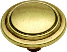Hickory Hardware P413-LP Round Ring Knob, dia. 1-1/4, Lancaster Brass, Eclipse