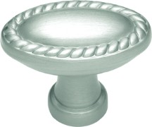 Belwith P404 Oval Knob, Length 1-3/8, Satin Nickel, Annapolis