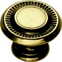 Hickory Hardware P8011-LP Round Design Knob, dia. 1, Lancaster Brass, Manor House
