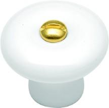 Belwith P7-W Round Plain Knob, dia. 1-1/4, White, Hearthside
