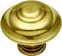 Hickory Hardware P8103-LP Round Design Knob, dia. 1-1/4, Lancaster Brass, Manor House