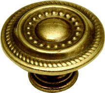 Hickory Hardware P8196-LP Round Design Knob, dia. 1-1/4, Lancaster Brass, Manor House