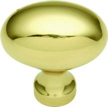 Belwith P9176 Oval Knob, Length 1-3/8, Polished Brass, Power & Beauty Series