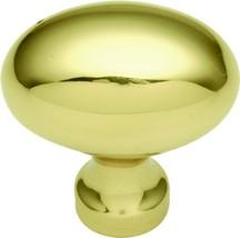Belwith P9176 Oval Knob, Length 1-3/8, Polished Brass, Power & Beauty Series