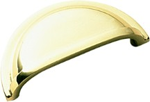 Belwith K43 Cup/ Bin Handle, Centers 3in, Polished Brass, Power & Beauty