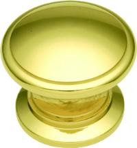 Belwith K44 Round Ring Knob, dia. 1-1/4, Polished Brass, Power & Beauty Series