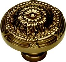 Belwith M103 Round Design Knob, dia. 1-1/2, SherWood Antique Brass, Ribbon & Reed