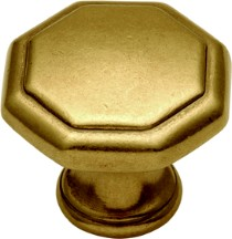 Belwith P14004-lb Round Ring Knob, dia. 1-1/8, Lustre Brass, Conquest