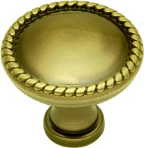 Belwith P102 Round Design Knob, dia. 1-1/4, Antique Brass, Annapolis