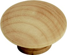 Belwith P185-UW Round Plain Knob, dia. 1-1/2, Unfinished Wood, Natural Woodcraft