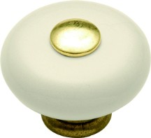 Hickory Hardware P222-LAD Round Plain Knob, dia. 1-1/4, Light Almond, Tranquility Series