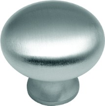 Belwith BK13-26D Round Plain Knob, dia. 1-1/4, Satin Nickel, Solid Brass Knob