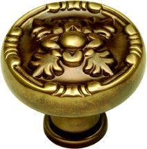 Belwith F106 Round Design Knob, dia. 1-1/4, SherWood Antique Brass, Richelieu