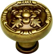 Belwith F106 Round Design Knob, dia. 1-1/4, SherWood Antique Brass, Richelieu