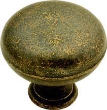 Belwith PA1218-WOA Round Plain Knob, dia. 1-1/4, Windover Antique, Oxford Antique Series