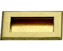 """KV 819X BR, Dull Brass 3-1/4"""" Recess Pull, Solid Brass, Knape and Vogt"""