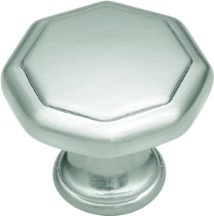 "Conquest Knob 1-1/8"" Dia Satin Nickel Hickory Hardware P14004-SN"