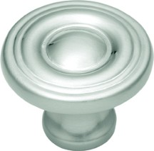 "Conquest Knob 1-1/8"" Dia Satin Nickel Hickory Hardware P14402-SN"