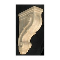 CVH International CRT-13-RW, Machine Carved Wood Corbel, Traditional Collection, 3-3/8 W X 7-3/4 D X 13 H, Rubberwood