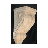 CVH International B-10-RW, Machine Carved Wood Corbel, Traditional Collection, 5 W X 4-3/8 D X 10 H, Rubberwood