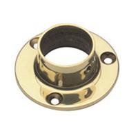 Lavi 00-500/1, Bar Railing Wall Flange, Solid Brass, 2 Dia. x 7/8 H, Fits Railing dia.: 1in, Bright Brass