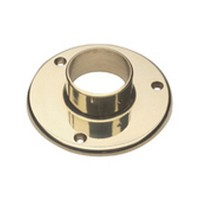 Lavi 00-532/2, Bar Railing, Wall/Floor Flange, Solid Brass, 5in dia. x 1-3/8 H, Fits Railing dia.: 2in, Bright Brass