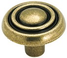 Amerock BP1306-O77 Round Ring Knob, dia. 1-3/16, Burnished Brass, Brass & Sterling Traditions