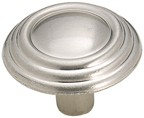 Amerock BP1307-G9 Round Ring Knob, dia. 1-1/4, Sterling Nickel, Brass & Sterling Traditions