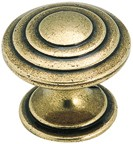 Amerock BP1354-O77 Round Ring Knob, dia. 1-1/4, Burnished Brass, True Elegance Series