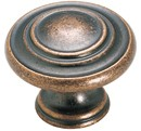 "Amerock BP1586-WC Round Ring Knob, dia. 1-5/16"", Weathered Copper, Inspirations"