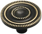 Amerock BP3448-AE Round Design Knob, dia. 1-3/8, Antique Brass, Vintage Series