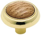 Amerock 265OPB Round Ring Knob, dia. 1-1/4, Polished Brass/Oak, Allison Series