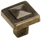 Amerock BP4429-R3 Square Knob, dia. 1-1/8, Rustic Brass, Forgings
